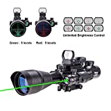 Pinty Rifle Scope 4-12x50EG Rangefinder Illuminated Optics with 4 Reticle Red&Green Reflex Sight & Green Dot Laser Sight