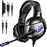 ONIKUMA Pro Stereo Gaming Headset for PS4, Xbox One, PC 【2019 Newest】 【60mm Driver】【7.1 Surround Sound】 Noise Cancelling Mic, Zero Ear Pressure, Mute & Volume Control, Durable Frame & Multi Platform