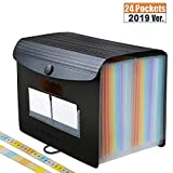 Accordian File Organizer,24 Pockets Expanding File Folder with Expandable Flap,Portable/Standing Plastic Filing Folder,Large-Capacity Rainbow Paper Bill Document Storage Box (A4 / Letter Size,2 Tabs)