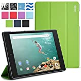 Google Nexus 9 Case - Poetic Google Nexus 9 Case [Slimline Series] - [Lightweight] [Ultra-slim] PU Leather Slim-Fit Trifold Cover Stand Folio Case for Google Nexus 9 Green (3 Year Manufacturer Warranty From Poetic)