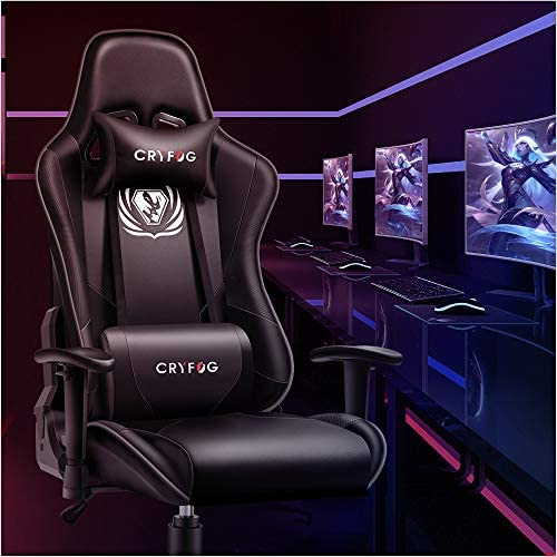 CRYfog Gaming Chair, PC Gaming Computer Chair Office Gamer Chair with Lumbar Support Black White Ergonomic Backrest and Seat Height Adjustment Swivel Chair (Black)