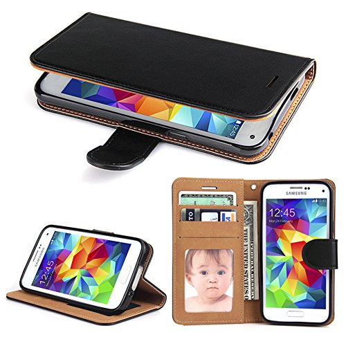Galaxy S5 Case, SOWOKO [Book Style] Samsung S5 Leather Wallet Case Flip Folio Shockproof Protection Cover with Credit Card Slots and Kickstand for Samsung Galaxy S5 (Black)
