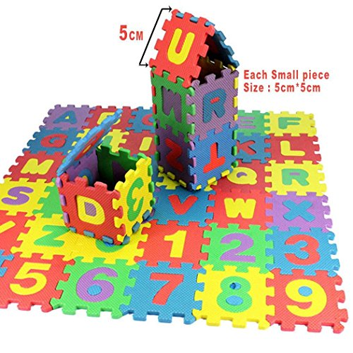 MinGe Alphabet and Numbers Foam Puzzle Mat Blocks Toy Gift, 36 Tiles (Each Tile Measures 2 X 2 Inch Total 36Pcs)