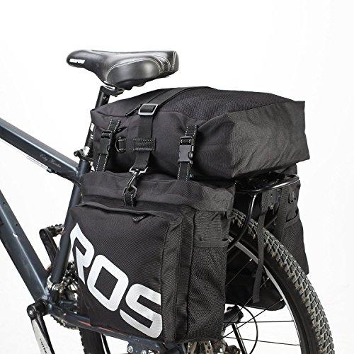 Bike Saddle Bag Bicycle Pannier Rear Rack Bag/Large Seat Cycling Carrier Bag 3 in 1 Luggage Bag-Black