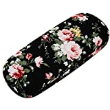 ZZ Sanity Flower Fabric Covered Clam Shell Style Eyeglass Case Spectacles Box (Black2)