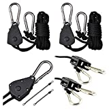 HBK 150lb 1/8' Rope Ratchet Yoyo Hangers for Grow Tent Room Fan Carbon Filter Grow Light