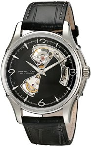Hamilton Men's HML-H32565735 Jazzmaster Open Heart Analog Display Swiss Automatic Black Watch