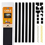 Simple Cord Black Cable Concealer On-Wall Cord Cover Raceway Kit - Cable Management System to Hide Cables, Cords, or Wires - Cord Organizer for TVs and Computers at Home or in The Office