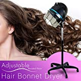 Professional Floor Hooded Hair Bonnet Dryer Stand Up Hair Dryer W/Rolling Wheels & Adjustable Hood Salon Beauty Equipment