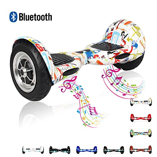 Self Balancing Scooter, Skque 10' Smart Two Wheel Self Balancing Electric Scooter with Bluetooth Speaker and LED Lights with LG/Samsung/Sanyang/Panasonic 44000mAh battery pack