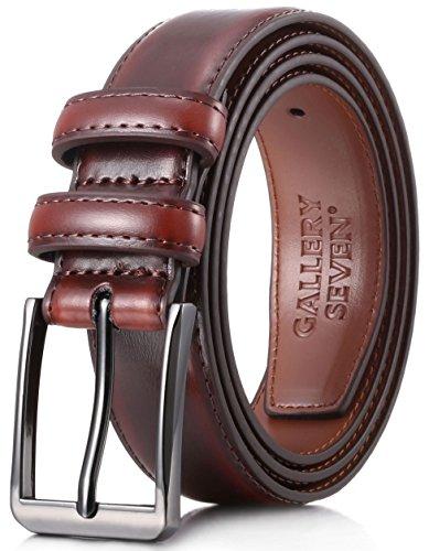 Gallery Seven Mens belt - Genuine Leather Dress Belt - Classic Casual Belt in gift box - Mahagony - Size 40 (Waist: 38)