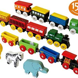 ToysOpoly Wooden Train Set 12 PCS – Magnetic Engines with 3 Bonus Animals – Deluxe Toys for Kids Toddler Boys and Girls – Compatible to Thomas Railway, Brio Tracks, and Major Brands 51AikJwJ77L