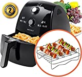 Secura 4 Liter, 4.2 Qt., Extra Large Capacity 1500 Watt Electric Hot Air Fryer and additional accessories;...