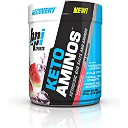 BPI Sports Keto Aminos - 7g Essential Amino Acid Powder - BHB Salts, MCTs - Burn Fat for Fuel, Muscle Growth, Recovery, Strength - Men & Women - Watermelon Ice - 30 Servings - 1.32 lbs
