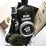 Big Forest Beard Treatment Kit - Shampoo 9 oz - Oil 1 oz - Beard Balm 2 oz - Brush - Wood Scent -...