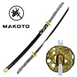 MAKOTO Handmade Sharp Katana Samurai Sword 42' Full Size Black - Detailed Dragon Head Handle (White Handle)