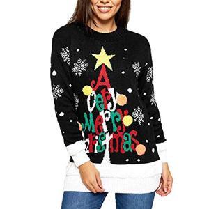 Women's Christmas Print Sweater Casual Long Sleeve Warm Knitted Top Knitwear Jumper