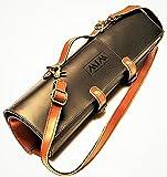 MiM Houston Chef Knife Bag | Natural Leather Knife Roll W/ Adjustable Shoulder Strap | Handmade