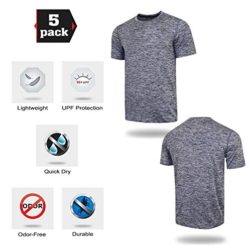 5 Pack Men's Active Quick Dry Crew Neck T Shirts | Athletic Running Gym Workout Short Sleeve Tee Tops Bulk 15 Fashion Online Shop gifts for her gifts for him womens full figure