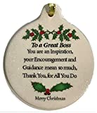Laurie G Creations Great Boss Porcelain Ornament Boxed Rhinestone Success Respect Thank You, White