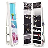 TWING Jewelry Organizer Jewelry Cabinet 360 Rotating, Lockable Standing Wall Jewelry Armoire with Full Length Mirror Large Jewelry Armoire Cabinet(White)