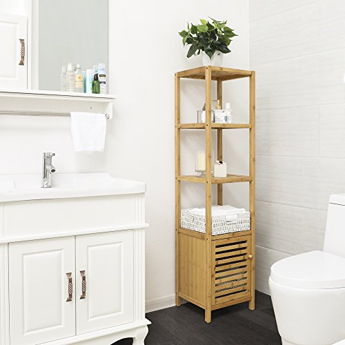 SONGMICS 100% Bamboo Bathroom Shelf 5-Tier with Storage ...