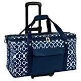Picnic at Ascot Ultimate Travel Cooler with Wheels - 36 Quart - Combines Best Qualities of Hard & Soft Collapsible Coolers (Trellis Blue)