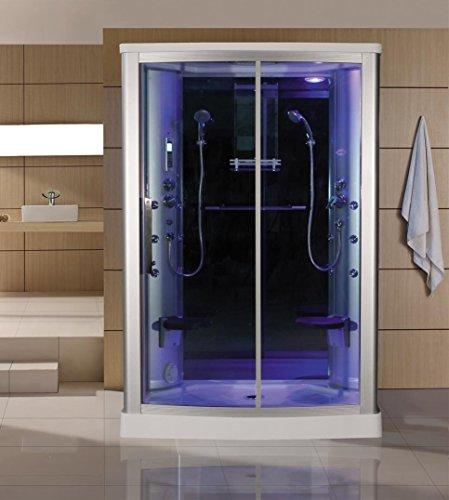 Sliding Door Steam Shower Enclosure Unit Glass Color: Blue