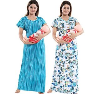 TUCUTE Women Beautiful Print with Invisible Zip + Floral Print Feeding/Maternity/Nursing Nighty/Night Gown/Night Dress/Nightwear (Free Size) (Pack of 2 Pcs) 22  TUCUTE Women Beautiful Print with Invisible Zip + Floral Print Feeding/Maternity/Nursing Nighty/Night Gown/Night Dress/Nightwear (Free Size) (Pack of 2 Pcs) 51AnwUZDF4L