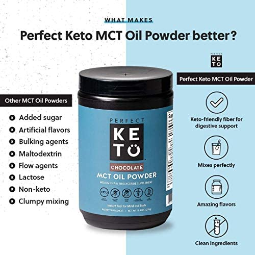 Perfect Keto MCT Oil C8 Powder, Coconut Medium Chain Triglycerides for Pure Clean Energy, Ketogenic Non Dairy Coffee Creamer, Bulk Supplement, Helps Boost Ketones, Chocolate 3