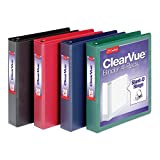 Cardinal 1.5' D-Ring Presentation View Binders, 3-Ring Binder, Holds 375 Sheets, Nonstick, PVC-Free, Assorted, Black, Red, Blue, Green, 4 Pack (29300)