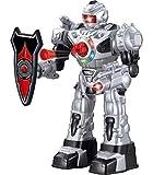 Grand robot de contrôle à distance Think Gizmos pour enfants - Robot télécommandé pour jouet amusant - Le jouet de contrôle à distance tire des missiles, des promenades, des discussions et des danses (10 fonctions) (Argent)