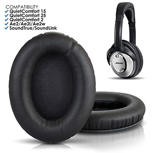 Wicked Cushions Bose Headphones Replacement Ear Pads - Compatible With QuietComfort 15 / QC15 / QC25 / QC2 / QC35 / Ae2 / Ae2i / Ae2w / SoundTrue & SoundLink ( Over-ear ONLY) | Black