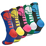 Boys Sock Basketball Soccer Hiking Ski Athletic Outdoor Sports Thick Calf High Crew Socks 5 Pack - 1