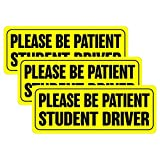 BOKA Student Driver Magnet Car Signs - Reflective Vehicle Bumper Magnet Set of 3 Magnetic Bumper Sticker for New Driver/Novice in Yellow