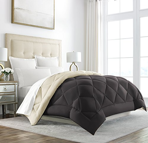 Sleep Restoration Goose Down Alternative Comforter - Reversible - All Season Hotel Quality Luxury Hypoallergenic Comforter -King/Cal King - Brown/Cream