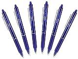 Pilot FriXion Clicker Retractable Erasable Gel Pens, Fine Point, Blue Ink (6)