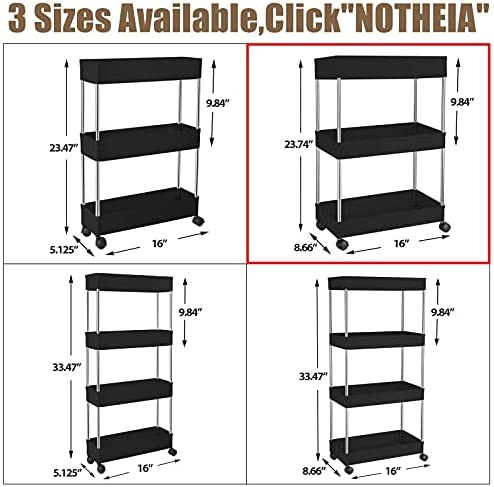Storage Cart 3 Tier by NOTHEIA, Rolling Utility Cart Mobile Shelving Unit Organizer Slide Out Storage Rack with Wheels for Bathroom, Kitchen, Laundry & Narrow Places, Plastic & Stainless Steel, Black