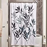 iDesign Leaves Fabric Shower Curtain, Modern Mildew-Resistant Bath Liner for Master, Kid's, Guest Bathroom, Standard, Black and Gray