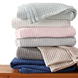100% Cotton Waffle Weave Premium Blanket. Lightweight and Soft, Perfect for Layering. Mikala Collection (King, Dark Grey)