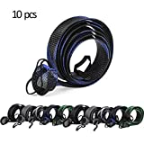 CAPACI Fishing Rod Sleeve Braided Mesh Rod Protector Fishing Rod Sock Cover Pole Glove Tools 10 Pcs (10pcs 5Color with Strap)