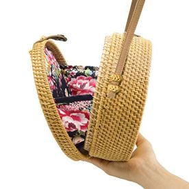 Handwoven-Round-Rattan-Bag-Shoulder-Leather-Straps-Natural-Chic-Hand-NATURAL-NEO