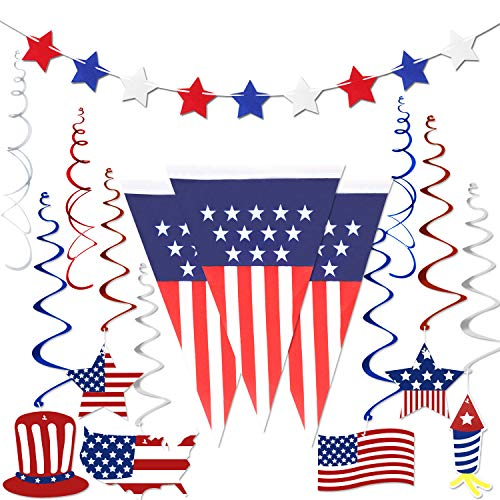 4th of July Decorations , Fourth of July Patriotic Party Decorations Supplies, Pack of 14 | Include 1 American USA Polyester Bunting Pennant, 12PCS Foil Hanging Swirls, 1 Felt Red White Blue Star Banner Garland