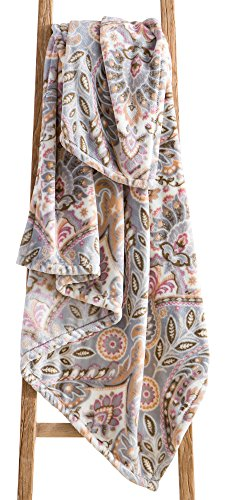 Country Chic Decorative Throw Blanket: Soft Plush Floral Paisley Fleece Velvet Accent for Couch or Bed, Colored: Grey Pink Brown Orange VCNY Brynn