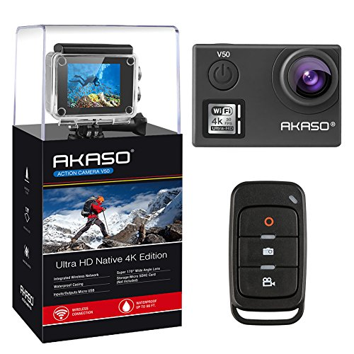 [UPGRADED] AKASO V50 Native 4K/30fps 20MP WiFi Action Camera with EIS, 40m Waterproof Camera with Remote Control, 170 Degree Wide Angle, 2 Rechargeable Batteries and Mounting Accessories Kit