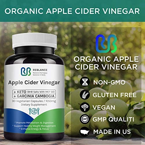 Organic Apple Cider Vinegar Capsules (90 Capsules | 1050 mg) with Garcinia cambogia + BHB Salts Keto Diet Pills with MCT Oil | ACV Pills | Detox Supplement for Women Men Support for Gut Health & Detox 5