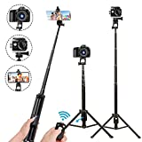 Selfie Stick Tripod,54 Inch Extendable Camera Tripod for Cellphone,Wireless Remote for Apple & Android Devices,Compatible with iPhone 6 7 8 X Plus,Samsung Galaxy S9 Note8,Gopro Adapter Included