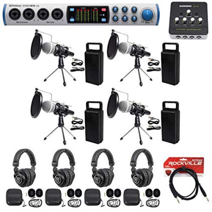 Presonus-4-Person-Podcast-Podcasting-Kit-1810-InterfaceMicsStandsPop-filters