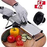 GA Mandoline Slicer - Adjustable Mandolin Vegetable Slicer and French Fry Cutter, Food Slicer, Vegetable Julienne - Thick Sharp Stainless Steel Blades - Cut-Resistant Gloves and Food Holder