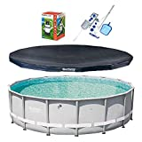 Bestway 16ft x 48in Power Steel Frame Pool, Cover w/Filter Pump, Cleaning Kit